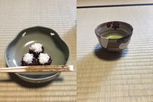 柴の雪と大根のお茶碗