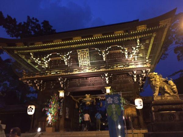 京の七夕 北野天満宮でライトアップ