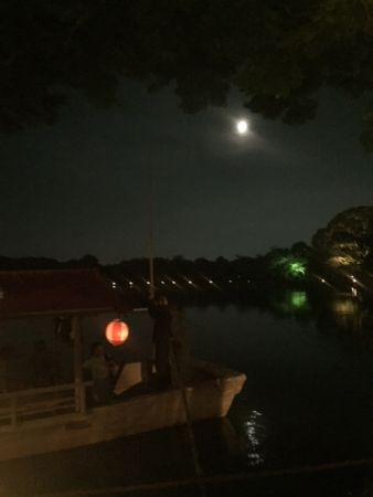京都・大覚寺 大沢の池に映る名月